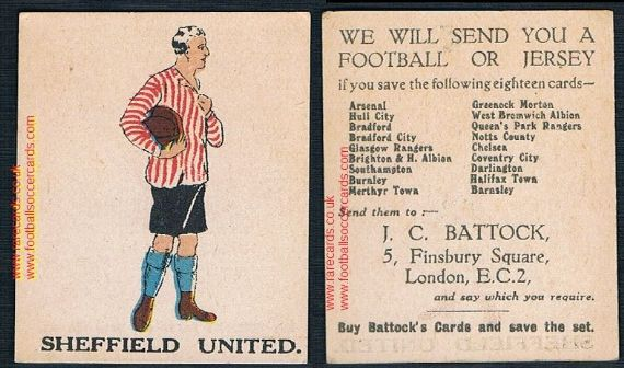 1923 J.C. Battock football trade card Sheffield United